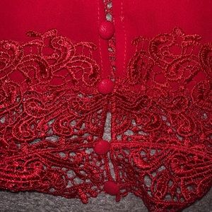 BEAUTIFUL COLLARED SATIN BUTTON LACED BLOUSE